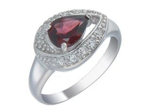 Sterling Silver Red CZ Ring In Size 7