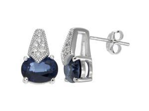 Sterling Silver Created Blue Sapphire Earrings (2.40 CT)