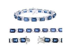 Sterling Silver Created Blue Sapphire Bracelet (26.10 CT)