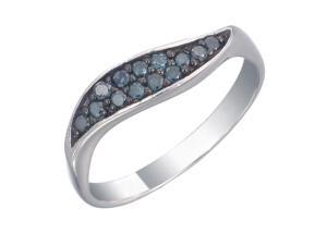 Sterling Silver Blue Diamond Ring (1/4 CT) In Size 7
