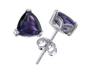 Silver Amethyst Stud Earrings (1.20 CT &#59; 6 MM Trillion Shape)