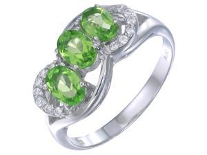 Sterling Silver Peridot 3 Stone Ring (1.15 CT) In Size 6
