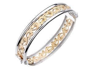 Yellow Gold Plated Sterling Silver Diamond Bangle (1/5 CT) Swirl Style