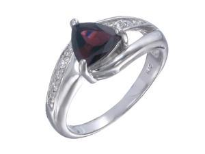 Sterling Silver Garnet Ring (0.80 CT) In Size 7