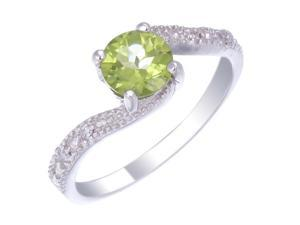 Sterling Silver Peridot Ring (0.70 CT) In Size 7
