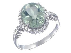 Sterling Silver Green Amethyst Ring (2.50 CT) In Size 8