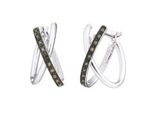 Sterling Silver Champagne Diamond Hoop Earrings (1/10 CT)