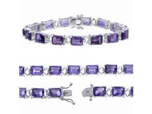 Sterling Silver Purple Amethyst Bracelet (18 CT)