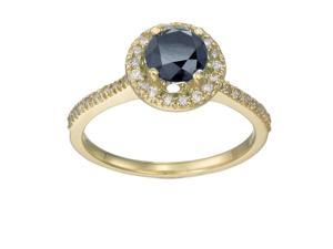 10K Yellow Gold Black Diamond Engagement Ring (1.50 CT) In Size 7