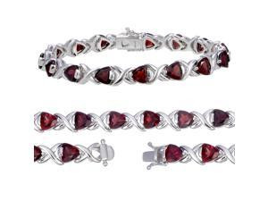 Sterling Silver Garnet Bracelet (7 CT)