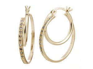 Yellow Gold Plated Sterling Silver Diamond Hoop Earrings (1/10 CT)