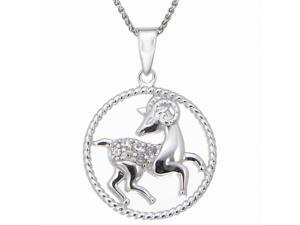 "Sterling Silver 1/8 CT Diamond Zodiac Pendant With 18"" Chain (Aries Zodiac)"