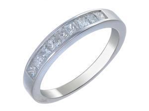 14K White Gold Diamond Wedding Band (3/4 CT &#59; Princess Cut &#59; 9 Stones) in Size 7