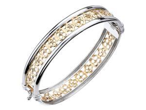 Yellow Gold Plated Sterling Silver Diamond Bangle (1/4 CT) Flower Style