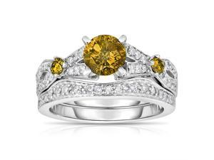 14K White Gold Yellow Diamond Engagement Ring (1.60 CT) In Size 7