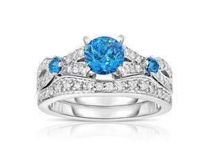 14K White Gold Blue Diamond Engagement Ring (1.60 CT) In Size 7