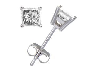 0.20 CT Princess Cut Diamond Stud Earrings 14k White Gold