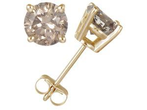 1/5 CT Champagne Diamond Stud Earrings 14k Yellow Gold