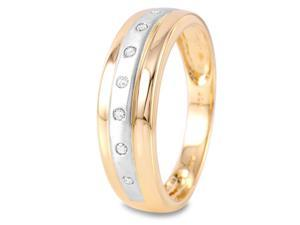 Mens 0.1CTW Diamond 14K Two tone Gold Ring