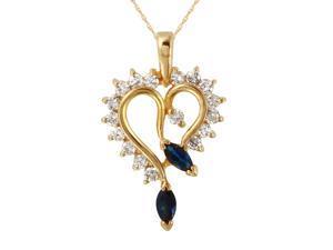 Ladies 0.67CTW Sapphire And Diamond 14K Yellow Gold Necklace