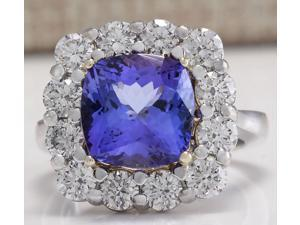 6.91CTW Natural Blue Tanzanite And Diamond Ring 14K Solid White Gold