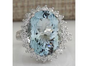 9.04 CTW Natural Aquamarine And Diamond Ring In 14k Solid White Gold