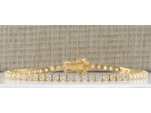 6.65 CTW Natural Dimond Bracelet In 14K Solid Yellow Gold