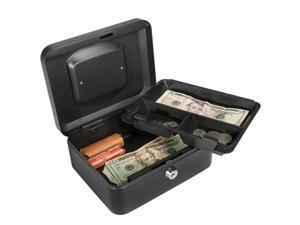 8 Inch Black Cash Box with Key Lock