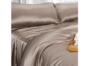 Aus Vio 100% Silk Flat Sheet, King/ Cal King, Pebble
