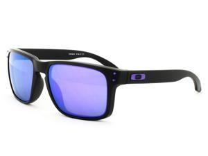 OAKLEY OO9102-26 Holbrook Sunglasses - Matte Black Frame / Violet Iridium Lens