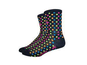 DeFeet AirEator 4in Spotty Cycling/Running Socks (Spotty Black w/Multi color Hi-Viz Spots - L)