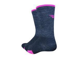 DeFeet Cyclismo Wool 5inch cycling/Running Socks - CYCW (Charcoal/ Hi-Vis Pink - M)