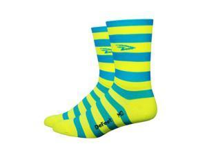 DeFeet AirEator HiTop D-Logo Striper Cycling/Running Socks - AIRTDLS (D-Logo Stripers Process Blue/Hi-vis Yellow - S)