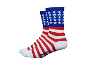 DeFeet AirEator HiTop USA Red/White/Blue Cycling/Running Socks - AIRTUSA (USA Red/White/Blue - S)