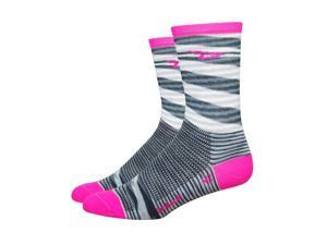 DeFeet AirEator HiTop 5in D-Logo Urban/Stripe Cycling/Running Socks - AIRTURPS (Urban Space Dyed w/ Hi-Vis Pink Stripe -
