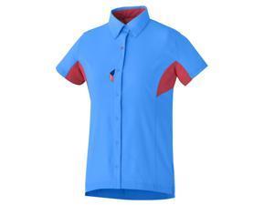 Shimano 2015 Women's Button Up Cycling Shirt - ECWJSTSNS31W (Lightning Blue/Jazzberry - S)