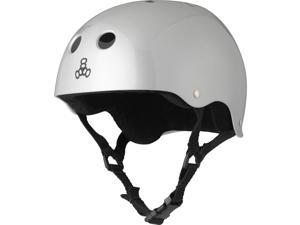 Triple Eight Glossy Multi-Impact Skate Hardhat with Sweatsaver Liner (Silver Metallic - M)