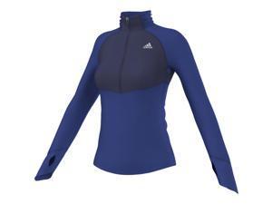 Adidas Outdoor 2015 Women's TechFit ClimaWarm 1/2 Zip Training Top (Bold Blue/Midnight Indigo - L)