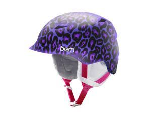 Bern 2016/17 Junior Girls Camina Winter Snow Helmet (Satin Purple Leopard w/ White Liner - S/M)