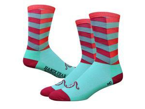 DeFeet AirEator 6in City Handlebar Mustache Cycling/Running Socks (City Sock - Turquoise/Red - L)