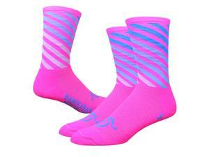 DeFeet AirEator 6in Decade Pro Handlebar Mustache Cycling/Running Socks (Decade Pro - Hi-Vis Pink/White/Blue - M)