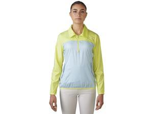 Adidas 2016 Women's 1/4 Zip Wind Jacket (Sunny Lime/Soft Blue - L)