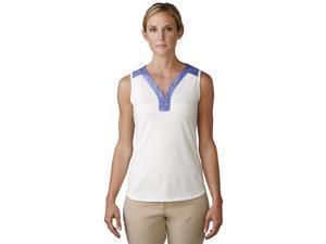 Adidas Golf 2016 Women's Mesh Printed Sleeveless Polo Shirt (White - XL)