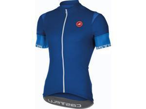 Castelli 2016 Men's Entrada Full Zip Short Sleeve Cycling Jersey - A16013 (surf blue - M)