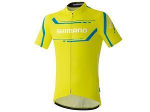 Shimano 2016 Men's Performance Print Short Sleeve Cycling Jersey - ECWJSGSPS51M (Lime Yellow - M)