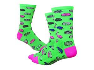 DeFeet AirEator 6in Dazed Donut Cycling/Running Socks - AIRTDDHVG (Dazed Donut - Hi-Vis Green - M)