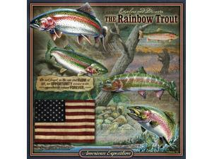 American Expedition Square Tin Art Sign - Rainbow Trout - TNSQ-112