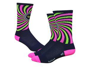 DeFeet AirEator 6in That 70s Sock Cycling/Running Socks - AIRTCOSM (That 70s Sock - Navy/Hi-Vis Pink - L)