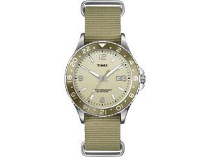 Timex Timex Mens Ameritus Sport Silver-Tone Watch With Green Nylon Band - T2P035