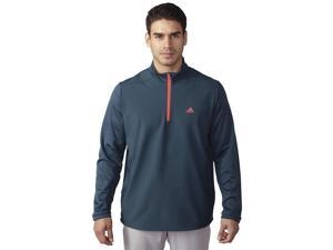 Adidas Golf 2016 Men's ClimaStorm Hybrid Heathered 1/4 Zip Long Sleeve Pullover (Mineral Blue/Shock Red - S)